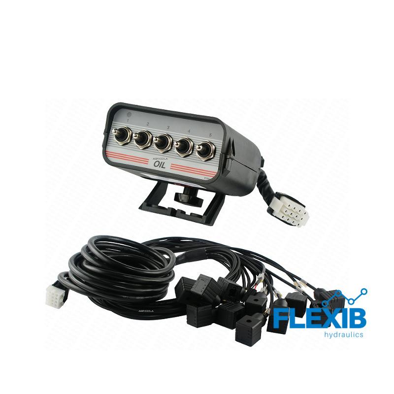 Juhtpaneel 5 lülitit juhtmed I pistikud hüdraulilisele jagajale 24V Elektrilised juhtpaneelid 24V Elektrilised juhtpaneelid