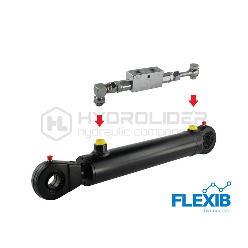 Hüdrosilinder 582mm: 350mm CJ2F-50/28/350, Koos turvaklapiga Hüdrosilindrid 50/28 Hüdrosilindrid