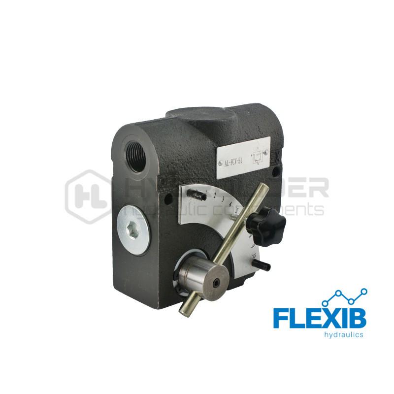 Hüdraulika voolu regulaator skaalaga Keere: 1/2  60L / min Maksimaalne rõhk: 210bar Vooluhulgaregulaatorid Hüdroklapid