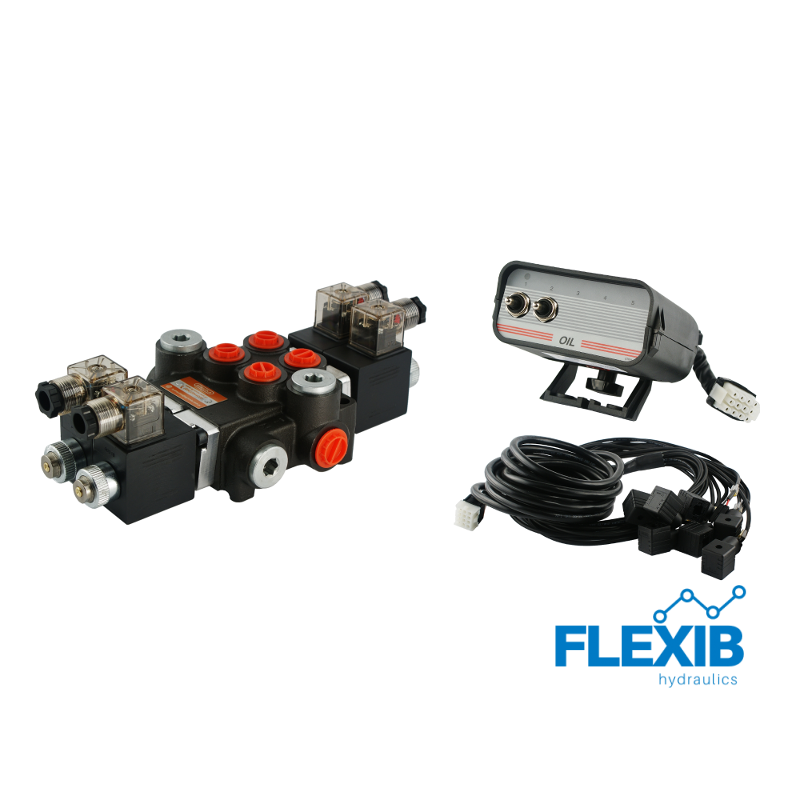 Hüdrauliline jagaja 2 sektsiooni 40L / min 24V elektriliselt juhitav juhtpaneelist Kuni 40L / min 24V
