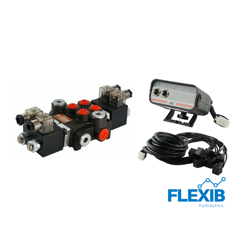 Hüdrauliline jagaja 2 sektsiooni 40L / min 12V elektriliselt juhitav juhtpaneelist Kuni 40L / min 12V