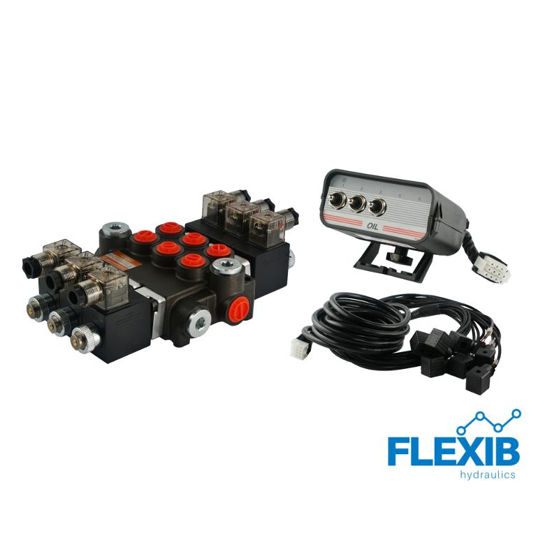 Hüdrauliline jagaja 3 sektsiooni 40L / min elektriliselt juhitav 12V Kuni 40L / min 12V