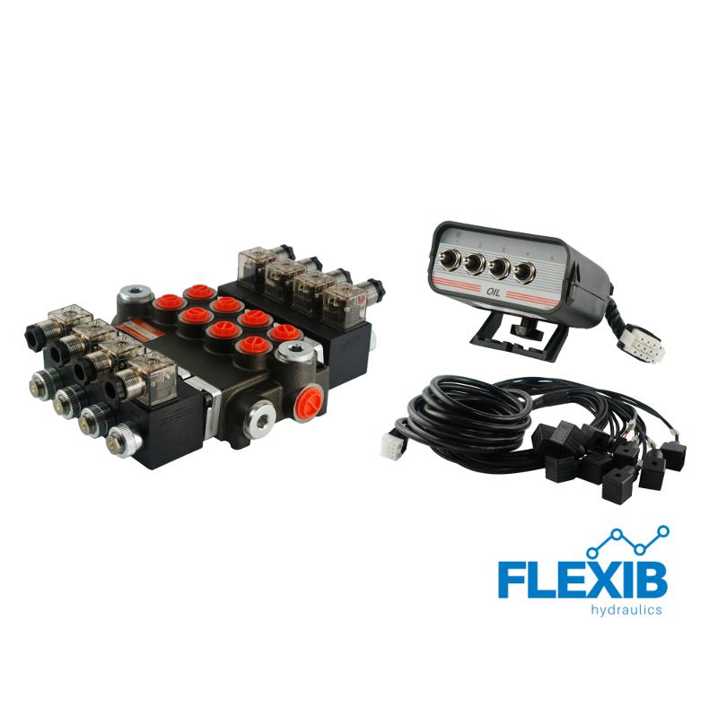 Hüdrauliline jagaja 4 sektsiooni 40L / min 12V elektriliselt juhitav Kuni 40L / min 12V