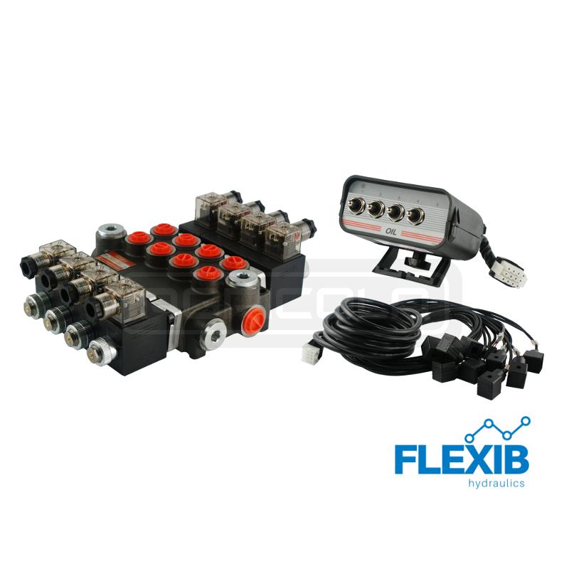Hüdrauliline jagaja 4 sektsiooni 40L / min 24V elektriliselt juhitav Kuni 40L / min 24V