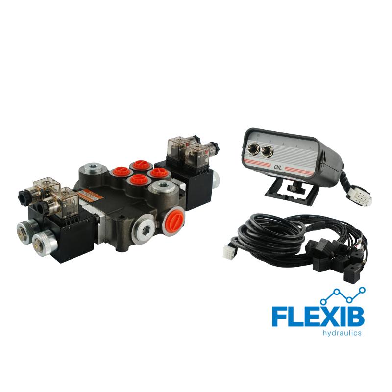 Hüdrauliline jagaja 2 sektsiooni 80L / min 12V elektriliselt juhitav Kuni 80L / min 12V