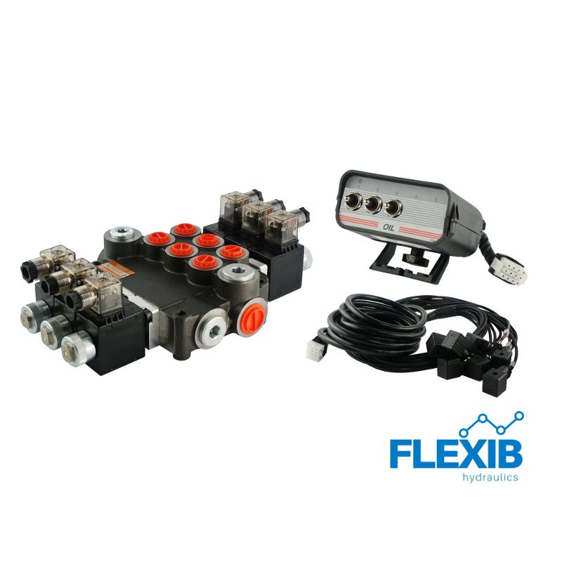 Hüdrauliline jagaja 3 sektsiooni 80L / min elektriliselt juhitav 12V Kuni 80L / min 24V