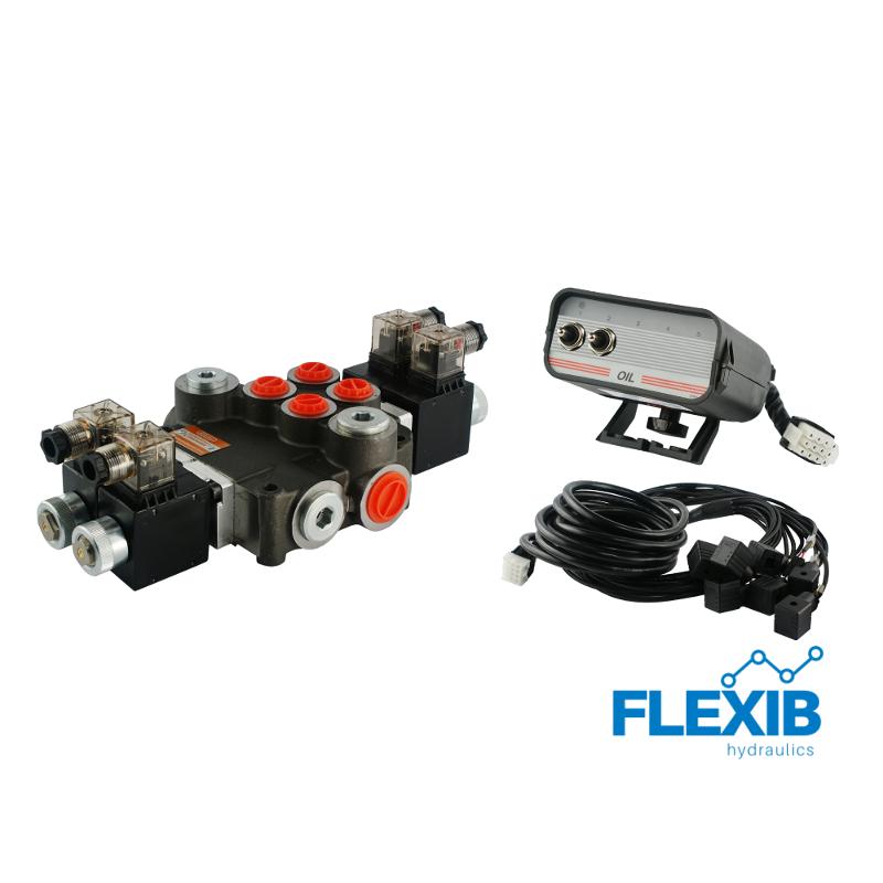 Hüdrauliline jagaja 2 sektsiooni 80L / min 24V elektriliselt juhitav Kuni 80L / min 24V
