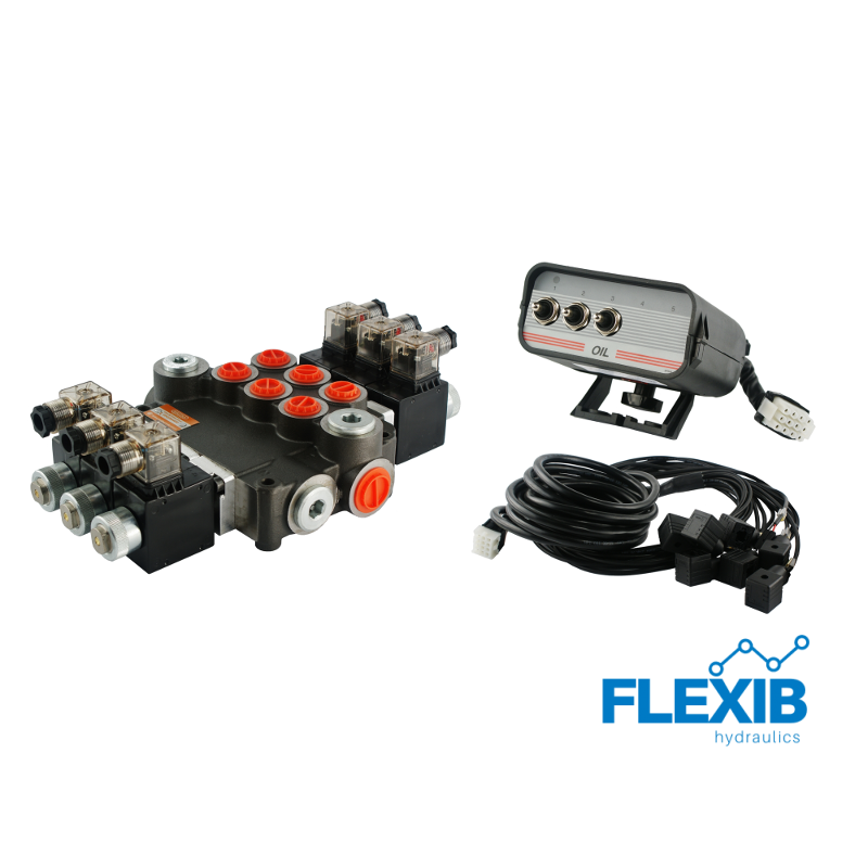 Hüdrauliline jagaja 3 sektsiooni 80L / min elektriliselt juhitav 24V Kuni 80L / min 24V