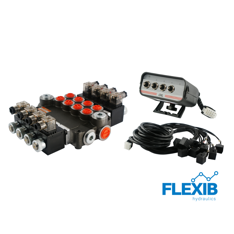 Hüdrauliline jagaja 4 sektsiooni 80L / min 24V elektriliselt juhitav Kuni 80L / min 24V