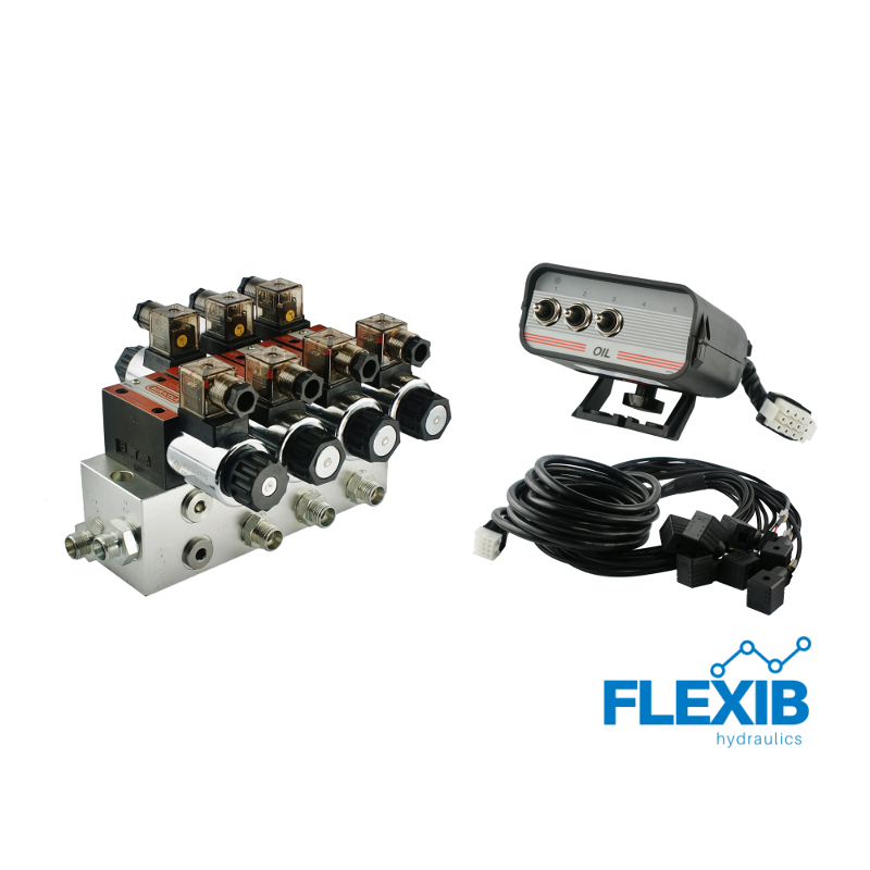Hüdrauliline jagaja 3-sektsiooni CETOP 03 NG6 elektriliselt juhitav 12V 12V 12V