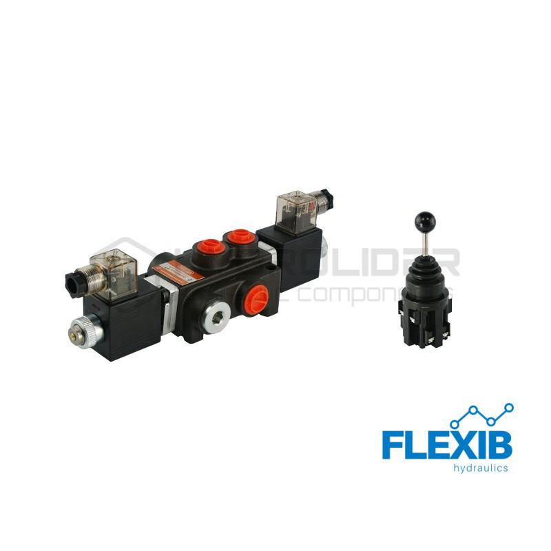 Hüdrauliline jagaja 1-sektsiooniline 40L / min elektriliselt juhitav 12V + elektriline joystick Kuni 40L / min 12V