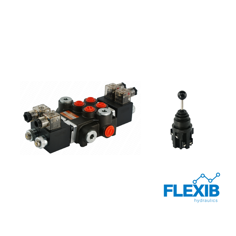 Hüdrauliline jagaja 2 sektsiooni 40L / min elektriliselt juhitav 12V + elektriline joystick Kuni 40L / min 12V