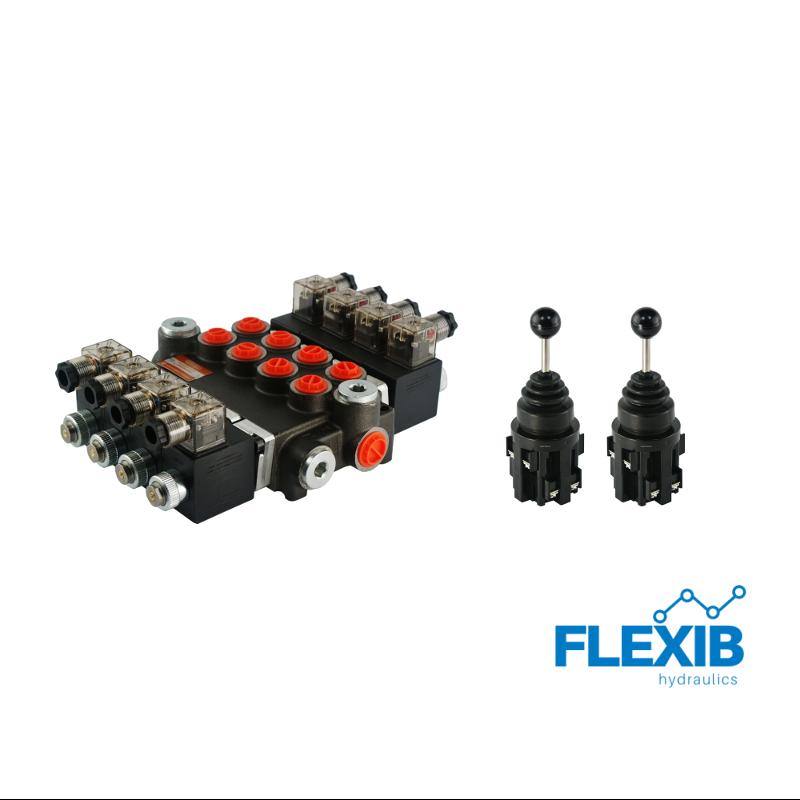 Hüdrauliline jagaja 4-sektsiooniline 40L / min elektriliselt juhitav 12V + 2 elektrilist joystick juhtkangi Kuni 40L / min 12V