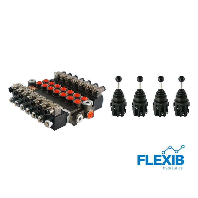 Hüdrauliline jagaja 3 sektsiooni 40L / min elektriliselt juhitav 12V + 4 elektrilist joystick juhtkangi Kuni 40L / min 12V