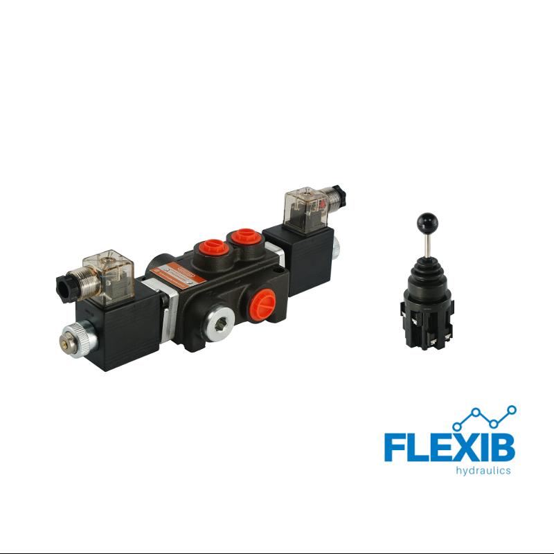 Hüdrauliline jagaja 1-sektsiooniline 40L / min elektriliselt juhitav 24V + elektriline joystick Kuni 40L / min 24V
