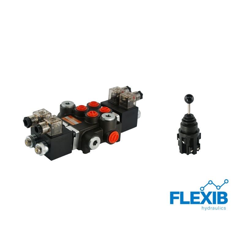 Hüdrauliline jagaja 2 sektsiooni 40L / min elektriliselt juhitav 24V + elektriline joystick Kuni 40L / min 24V