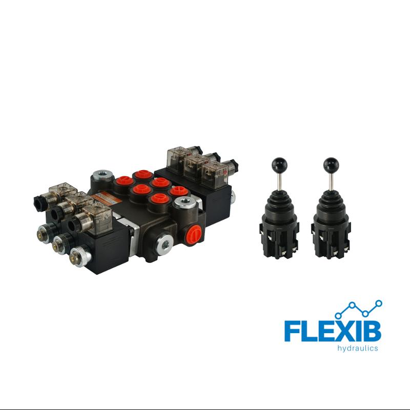 Hüdrauliline jagaja 3 sektsiooni 40L / min elektriliselt juhitav 24V + elektriline joystick Kuni 40L / min 24V