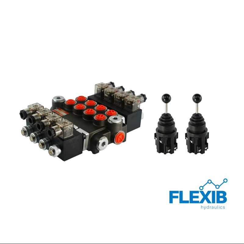 Hüdrauliline jagaja 4-sektsiooniline 40L / min elektriliselt juhitav 24V + elektriline joystick Kuni 40L / min 24V