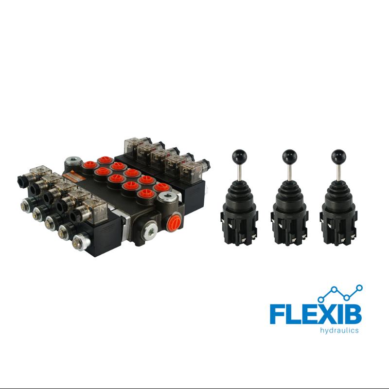 Hüdrauliline jagaja 5 sektsiooni 40L / min elektriliselt juhitav 24V + 3 elektrilist joystick juhtkangi Kuni 40L / min 24V