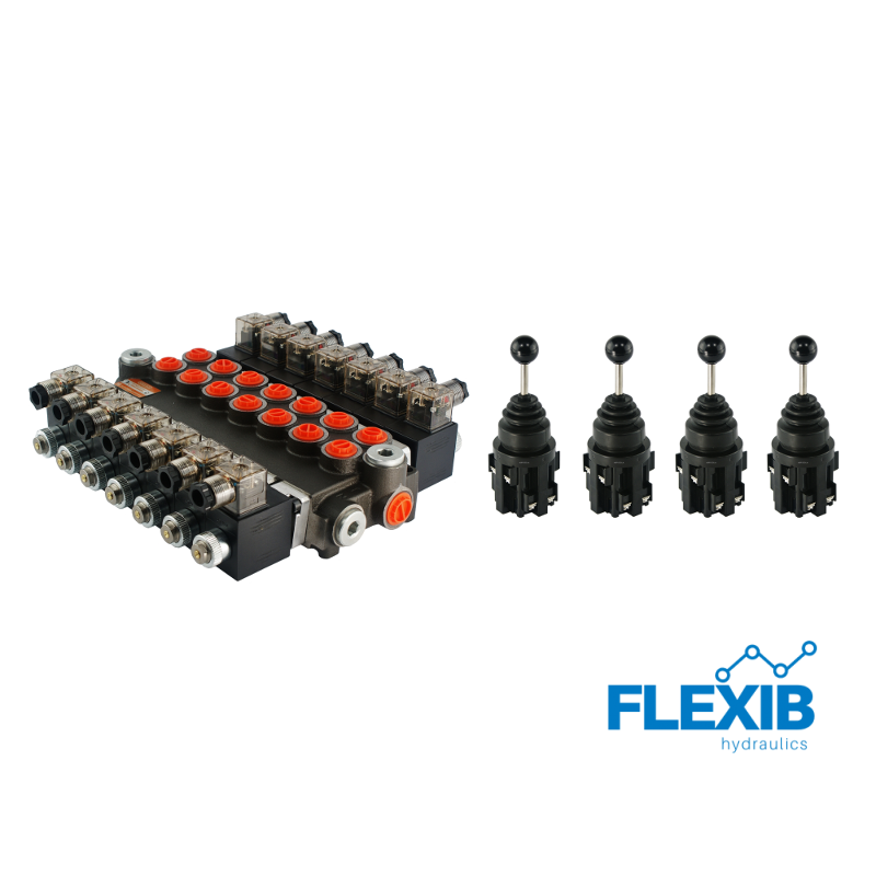Hüdrauliline jagaja 7 sektsiooni 40L / min elektriliselt juhitav 24V + 4 elektrilist joystick juhtkangi Kuni 40L / min 24V