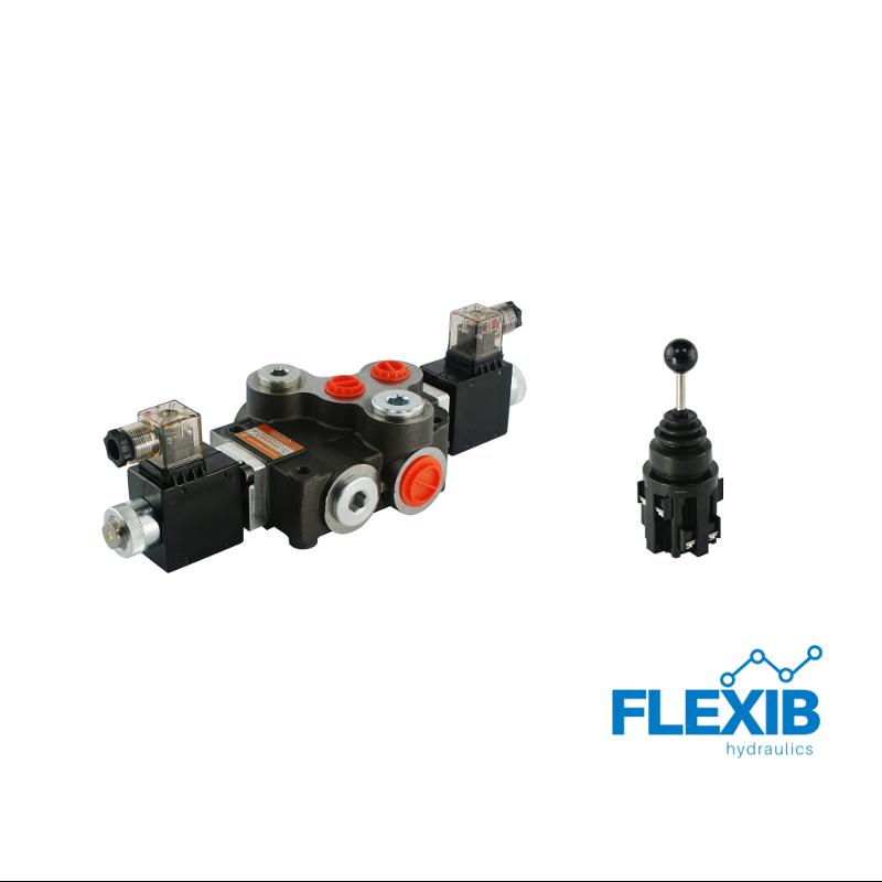 Hüdrauliline jagaja 1-sektsiooniline 80L / min elektriliselt juhitav 12V + elektriline joystick Kuni 80L / min 12V
