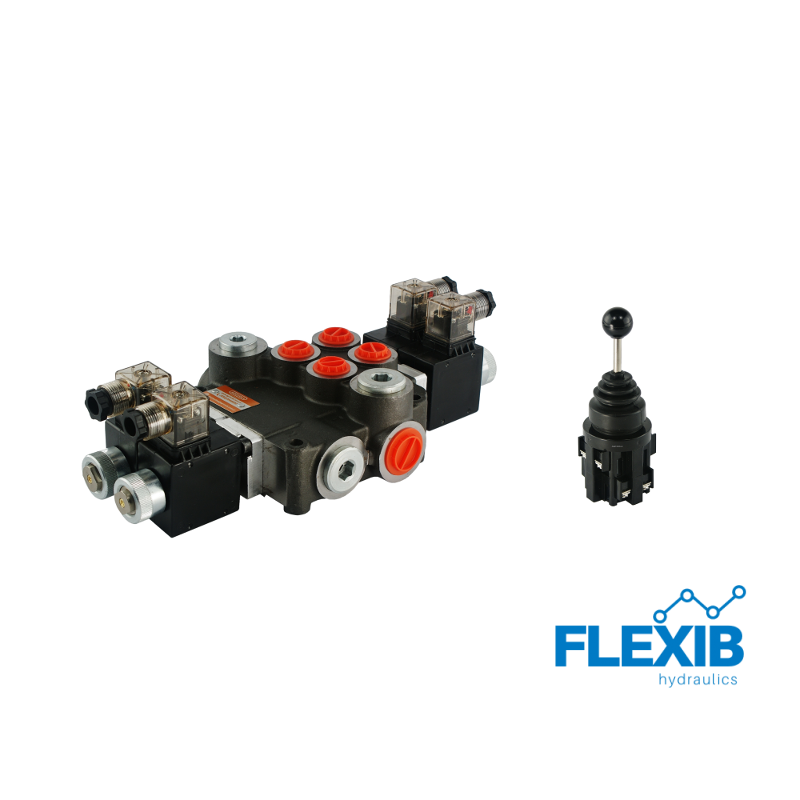 Hüdrauliline jagaja 2 sektsiooni 80L / min elektriliselt juhitav 12V + elektriline joystick Kuni 80L / min 12V