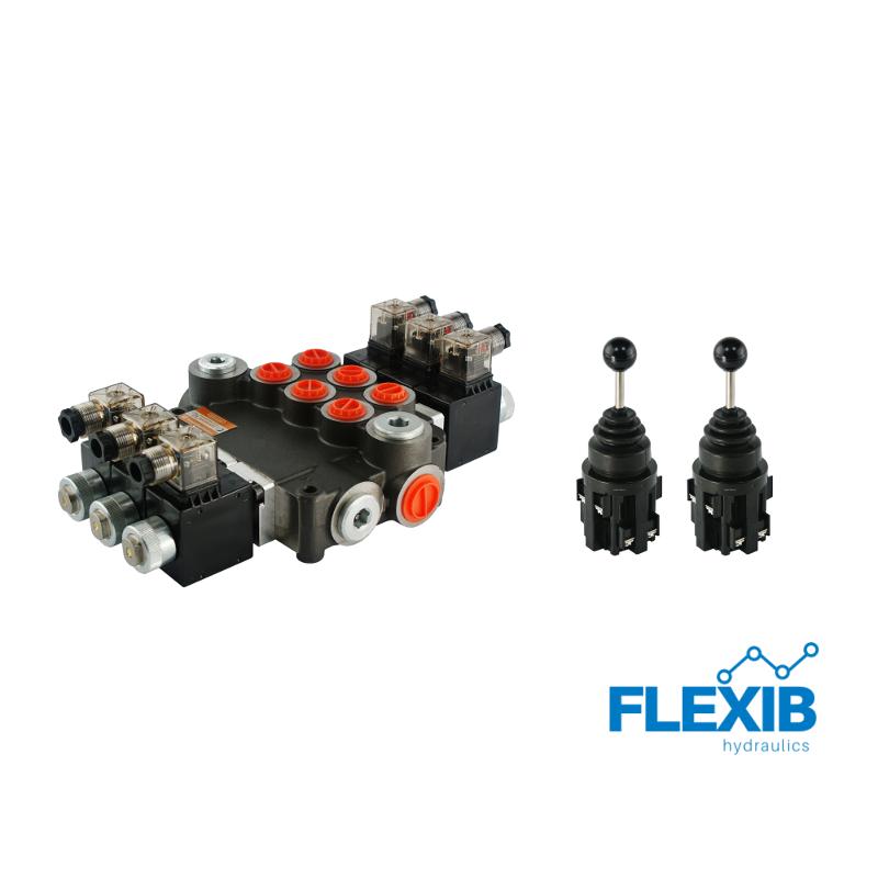 Hüdrauliline jagaja 3 sektsiooni 80L / min elektriliselt juhitav 12V + elektriline joystick Kuni 80L / min 12V