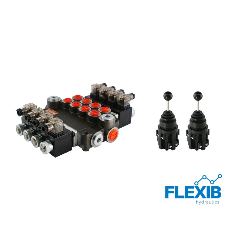 Hüdrauliline jagaja 4-sektsiooniline 80L / min elektriliselt juhitav 12V + elektriline joystick Kuni 80L / min 12V