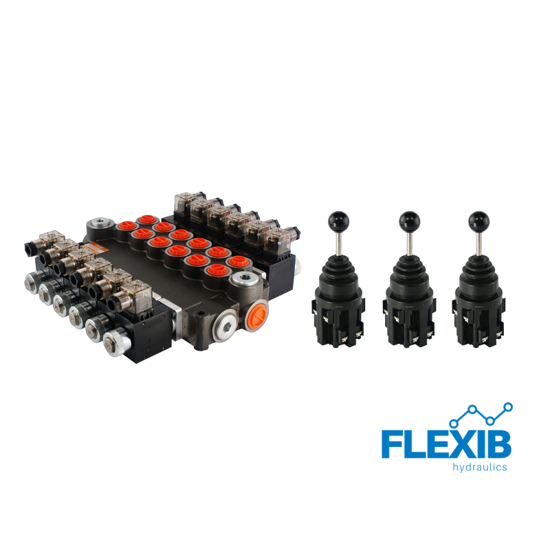 Hüdrauliline jagaja 6 sektsiooni 80L / min elektriliselt juhitav 12V + 3 elektrilist joystick juhtkangi Kuni 80L / min 12V