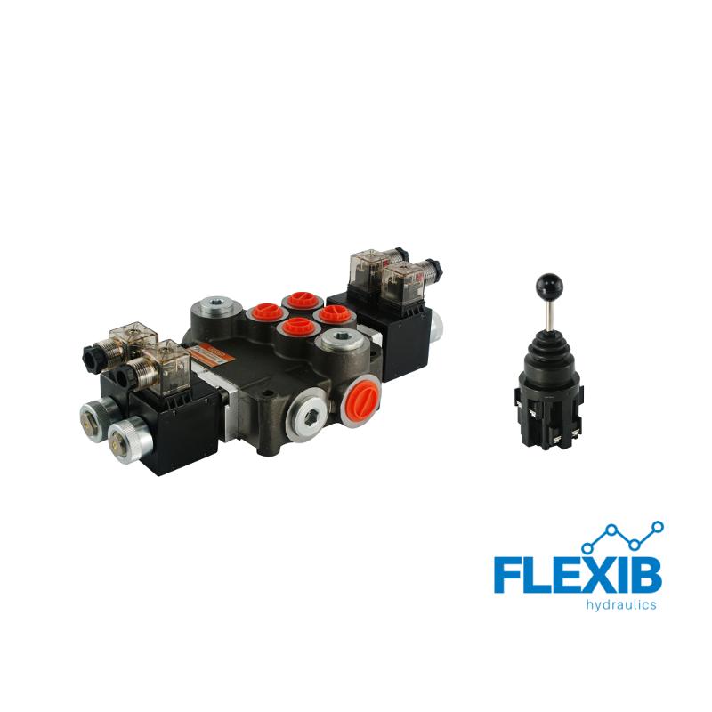 Hüdrauliline jagaja 2 sektsiooni 80L / min elektriliselt juhitav 24V + elektriline joystick Kuni 80L / min 24V