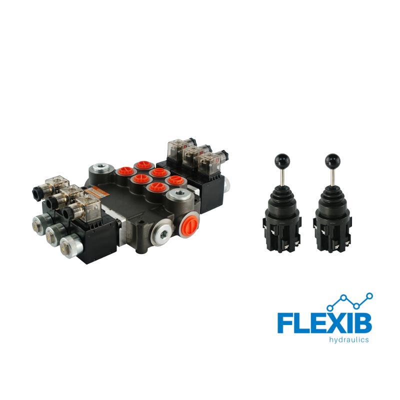 Hüdrauliline jagaja 3 sektsiooni 80L / min elektriliselt juhitav 24V + elektriline joystick Kuni 80L / min 24V