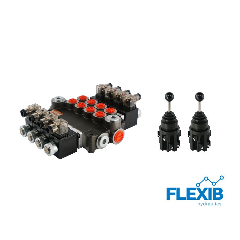 Hüdrauliline jagaja 4-sektsiooniline 80L / min elektriliselt juhitav 24V + elektriline joystick Kuni 80L / min 24V