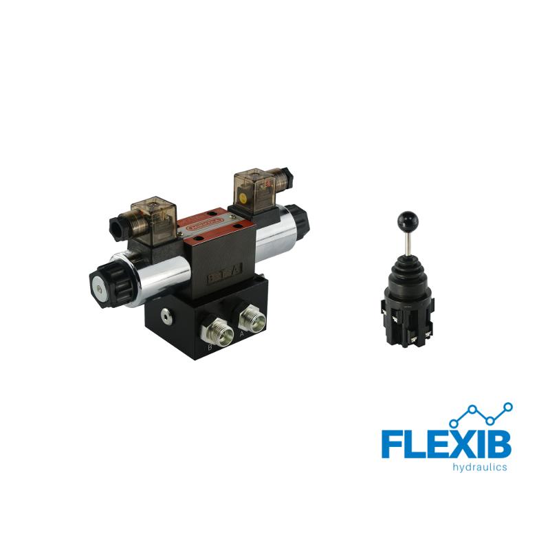 Hüdrauliline jagaja 1-sektsiooniline CETOP 03 NG6 elektriliselt juhitav 12V + elektriline joystick 12V 12V