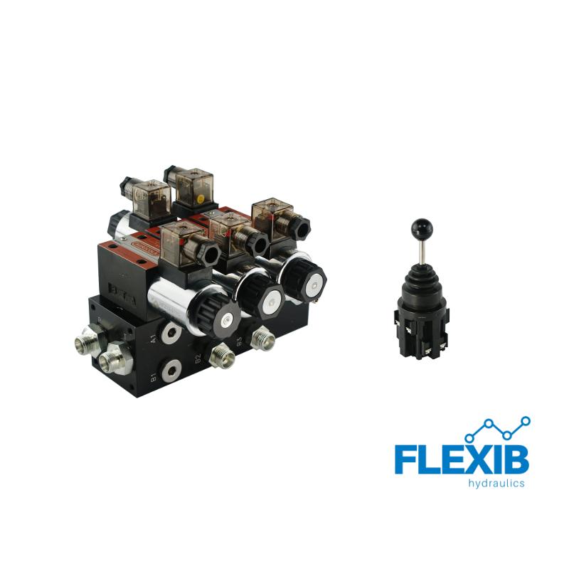 Hüdrauliline jagaja 2-sektsiooni CETOP 03 NG6 elektriliselt juhitav 12V + elektriline joystick 12V 12V