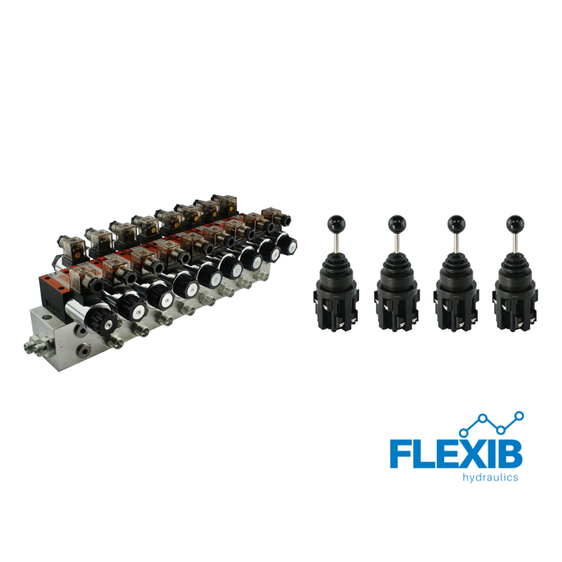 Hüdrauliline jagaja 8-sektsiooni CETOP 03 NG6 elektriliselt juhitav 12V + 4 elektrilist joystick juhtkangi 12V 12V