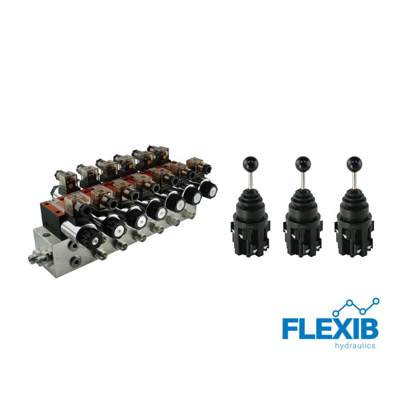 Hüdrauliline jagaja 6 sektsiooni CETOP 03 NG6 elektriliselt juhitav 24V + 3 elektrilist joystick juhtkangi CETOP 3NG 6 CETOP 3NG 6