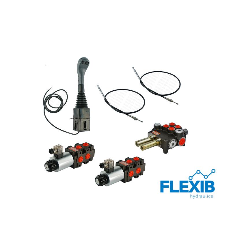 Hüdrauliline jagaja 4-sektsiooniline 80L / min + 2x 6/2 solenoid klapp + joystick kahe nuppuga+ juhtkangi trossid 2x Hüdraulika komplektid kuni 80L / min Hüdraulika komplektid kuni 80L / min