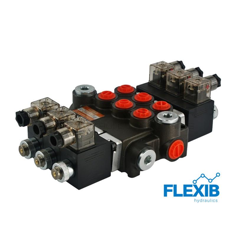 Hüdrauliline jagaja 3 sektsiooni 40L / min elektriliselt juhitav  24V: 24V ES3 03Z50 AAA G Kuni 40L / min 24V