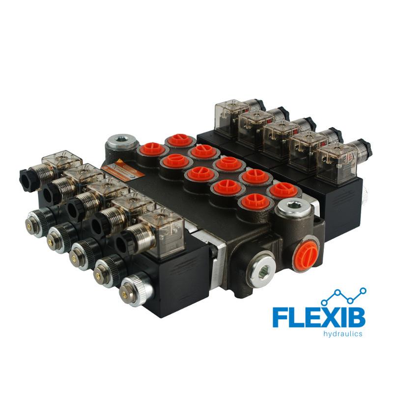 Hüdrauliline jagaja 5 sektsiooni 40L / min elektriliselt juhitav  12V: 12V 05Z50 5XA ES3 G Kuni 40L / min 12V