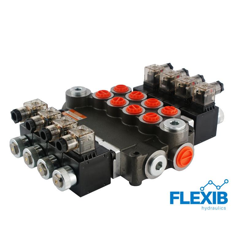 Hüdrauliline jagaja 4-sektsiooniline 80L / min elektriliselt juhitav  12V: 12V ES3 04Z80 AAAA G Kuni 80L / min 12V
