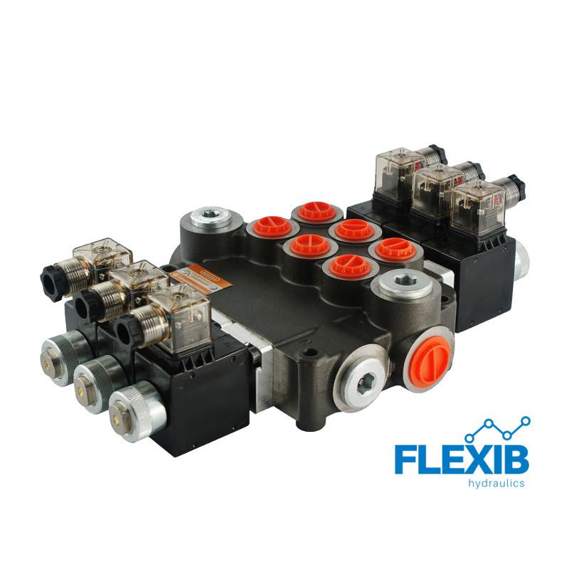Hüdrauliline jagaja 3 sektsiooni 80L / min elektriliselt juhitav  24V: 24V ES3 03Z80 AAA G Kuni 80L / min 24V