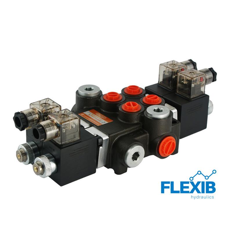 Hüdrauliline jagaja 2 sektsiooni 40L / min elektriliselt juhitav  12V: 12V ES3 02Z50 AA G Kuni 40L / min 12V