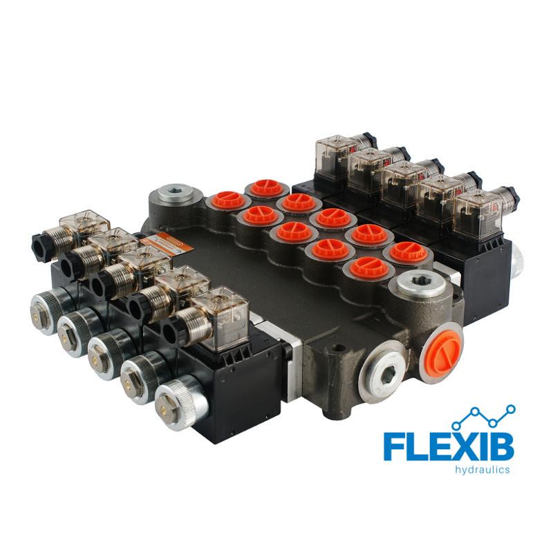 Hüdrauliline jagaja 5 sektsiooni 80L / min elektriliselt juhitav  24V: 24V 05Z80 5XA ES3 G Kuni 80L / min 24V