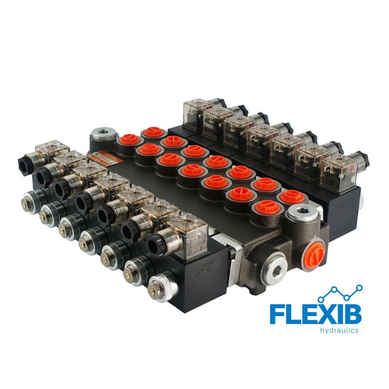 Hüdrauliline jagaja 7 sektsiooni 40L / min elektriliselt juhitav  24V: 24V 07Z50 7xA ES3 G Kuni 40L / min 24V