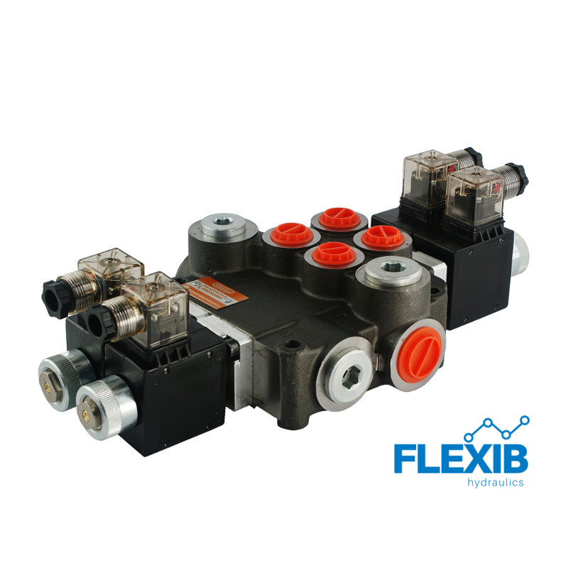 Hüdrauliline jagaja 2 sektsiooni 80L / min elektriliselt juhitav  12V: 12V ES3 02Z80 AA G Kuni 80L / min 12V