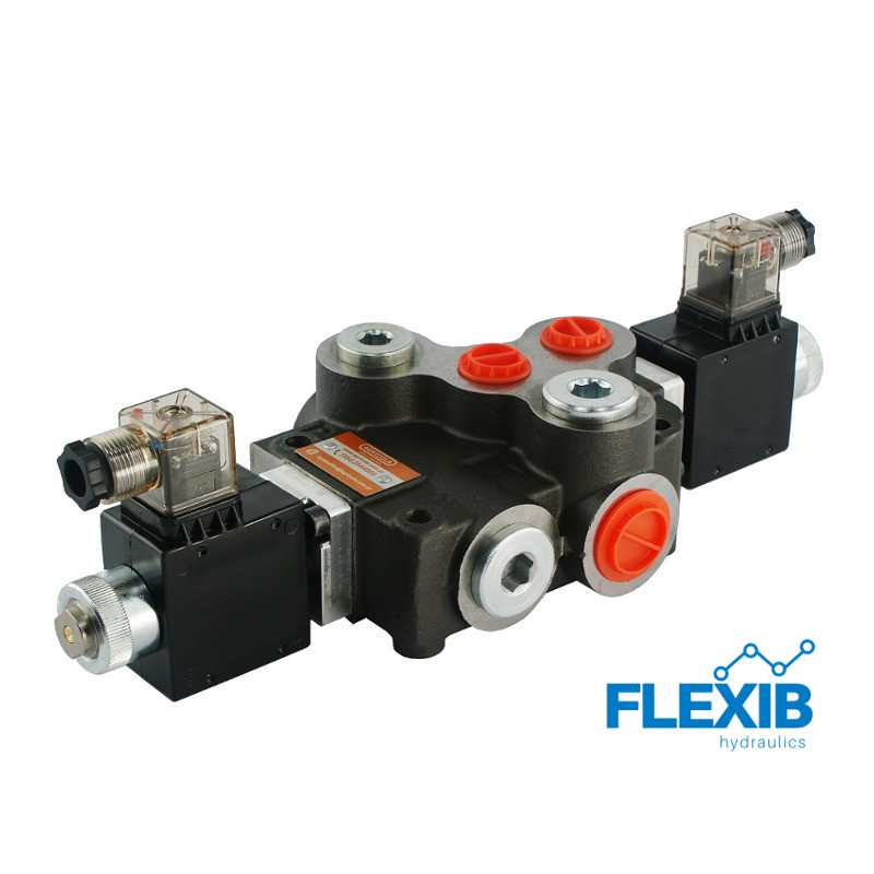Hüdrauliline jagaja 2 sektsiooni 80L / min elektriliselt juhitav  24V: 24V ES3 02Z80 AA G Kuni 80L / min 24V