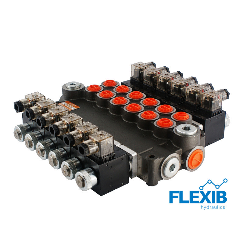 Hüdrauliline jagaja 6 sektsiooni 80L / min elektriliselt juhitav  12V: 12V 06Z80 6XA ES3 G Kuni 80L / min 12V