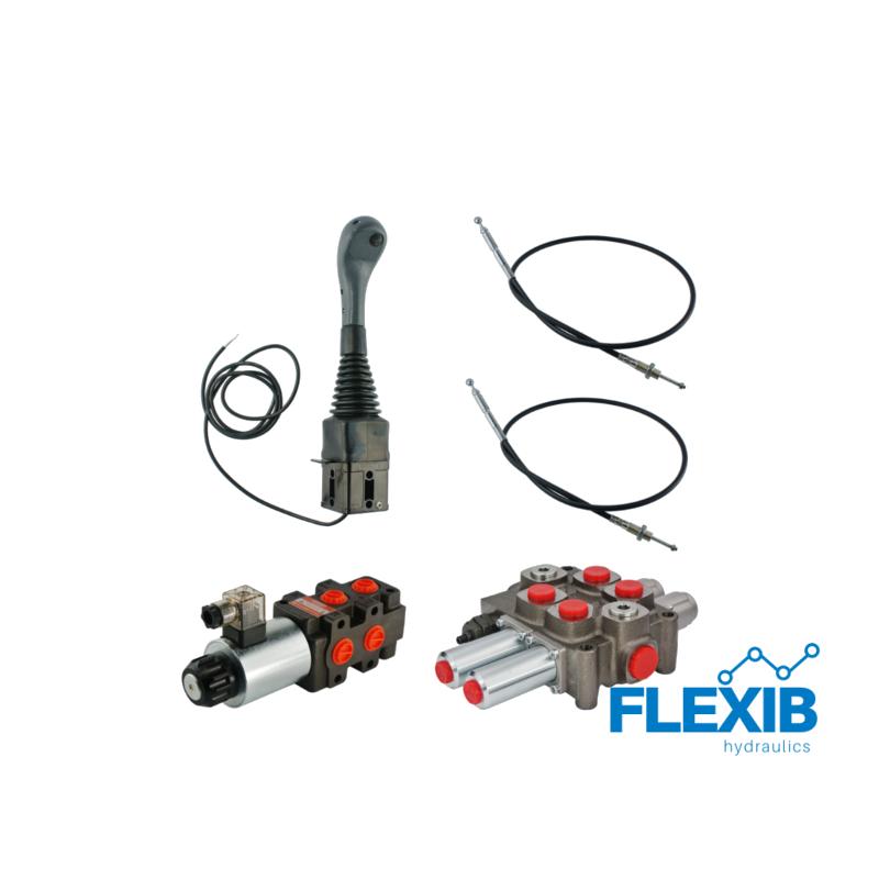 Kolme sektsiooniline jagaja 90L jagaja + solenoid klapp + joystick nupuga + kaks trossi Hüdraulika komplektid kuni 90L / min Hüdraulika komplektid kuni 90L / min