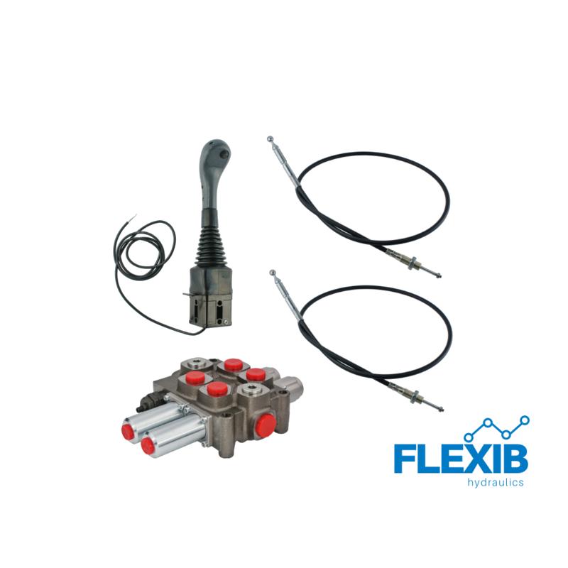 3-sektsiooniline komplekt hüdrauliline jagaja 90L / min  + joystick nupuga + kaks trossi Hüdraulika komplektid kuni 90L / min Hüdraulika komplektid kuni 90L / min