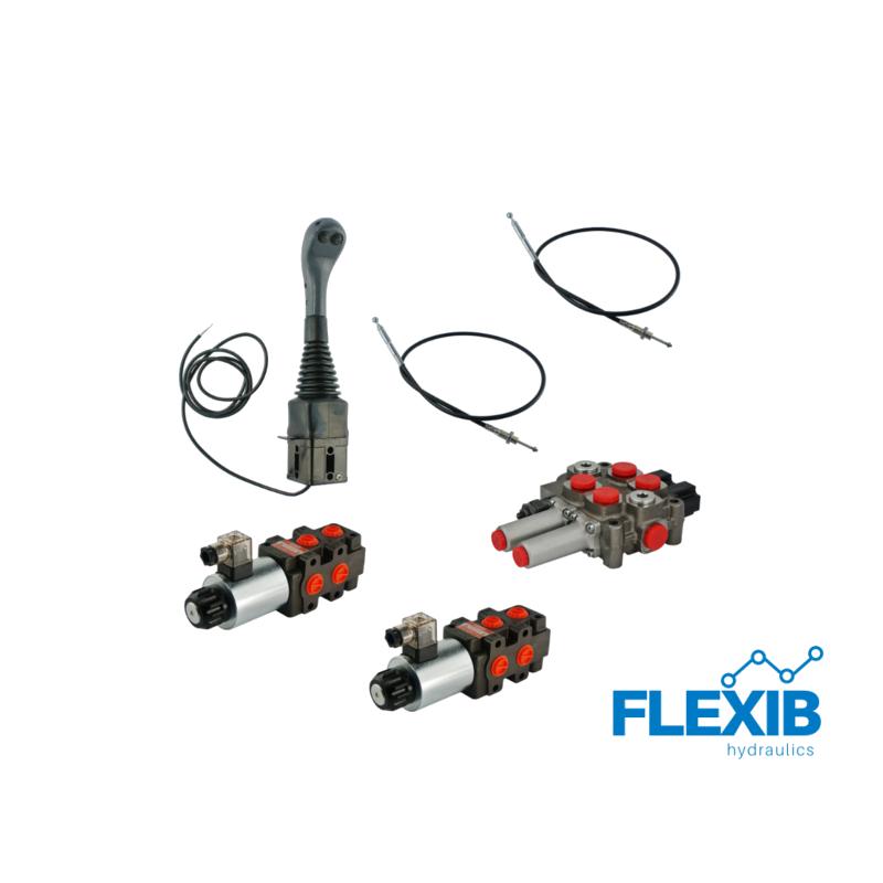 2-sektsiooniline komplekt hüdrauliline jagaja 60L / min + 2x solenoid klapp + joystick nupuga + kaks trossi Hüdraulika komplektid kuni 60L / min Hüdraulika komplektid kuni 60L / min